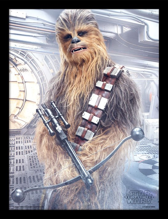 Star Wars Episode VIII Framed Poster Chewbacca Bowcaster 45 x 33 cm