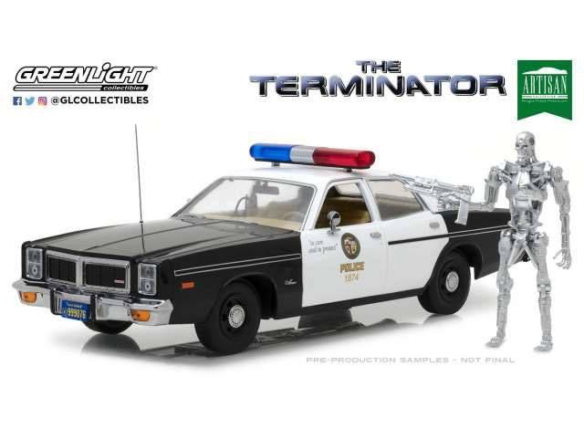 Terminator Diecast Model 1/18 1977 Dodge Monaco Metropolitan Police with Figure