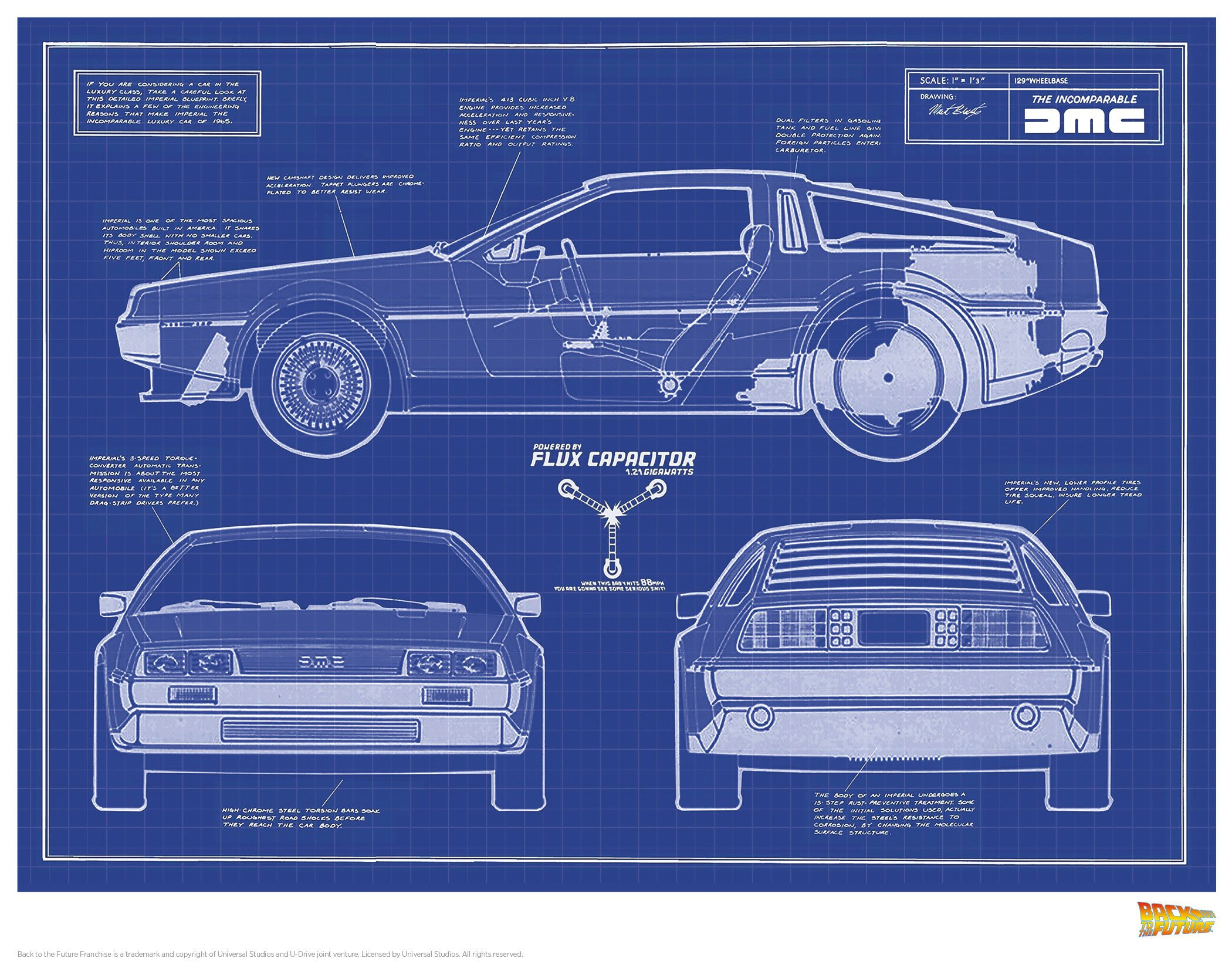 Back to the Future Art Print Blue Print 35 x 28 cm