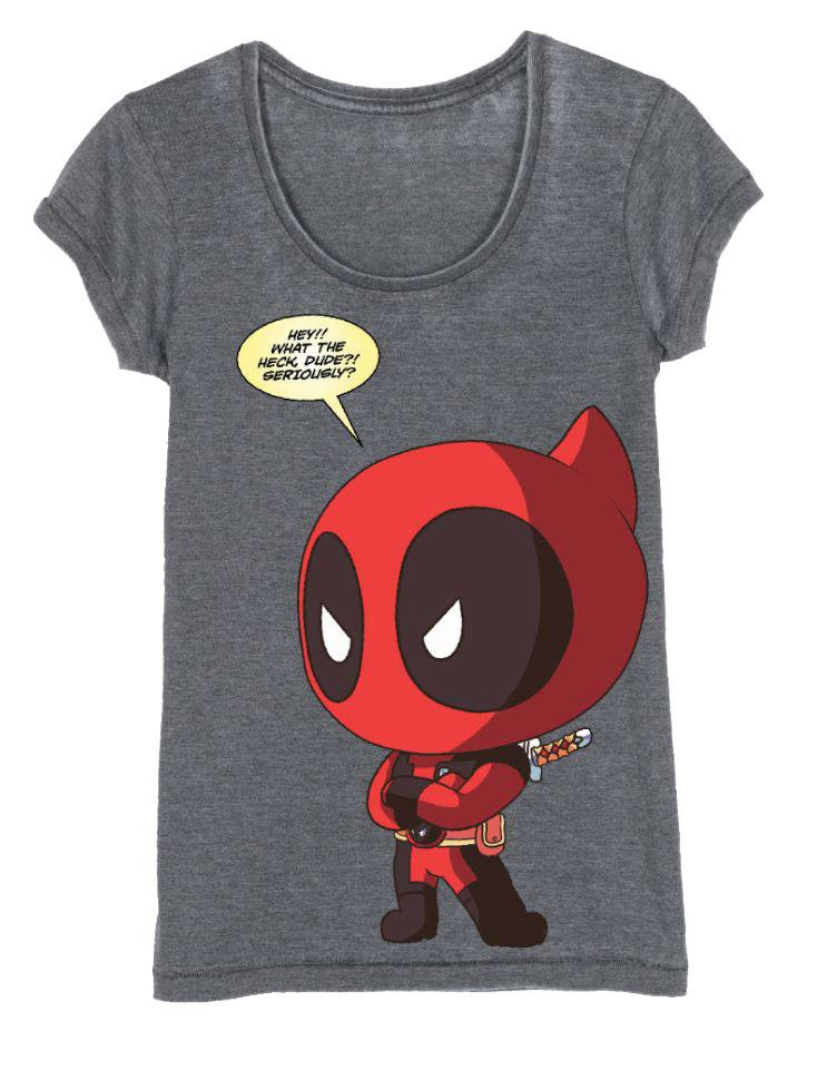 Deadpool Ladies T-Shirt Chibi Deadpool Size L