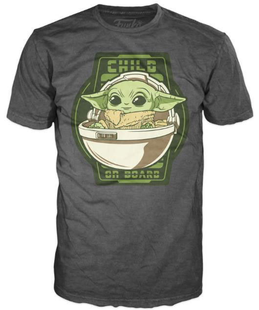 Star Wars The Mandalorian Loose POP! Tees T-Shirt Child On Board Size M