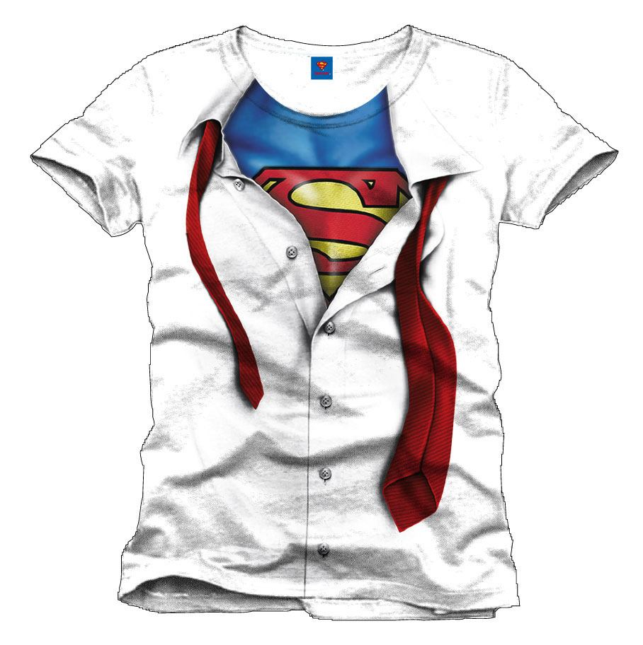Superman T-Shirt Clark Kent white Size M
