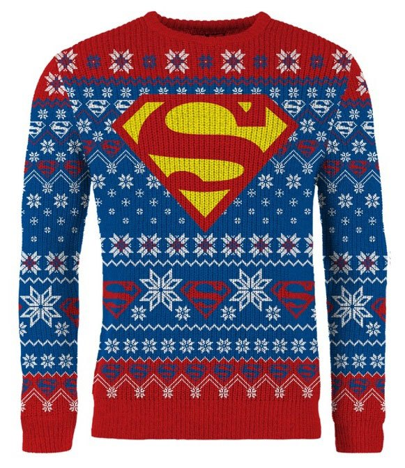 DC Comics Knitted Sweater Superman Have A Super Christmas Size L