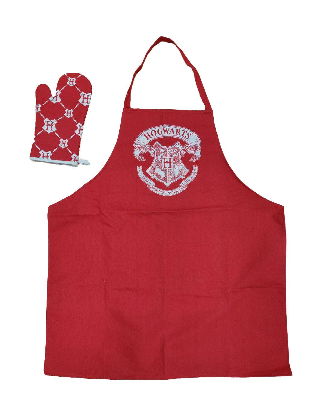 Harry Potter cooking apron with oven mitt Hogwarts Logo