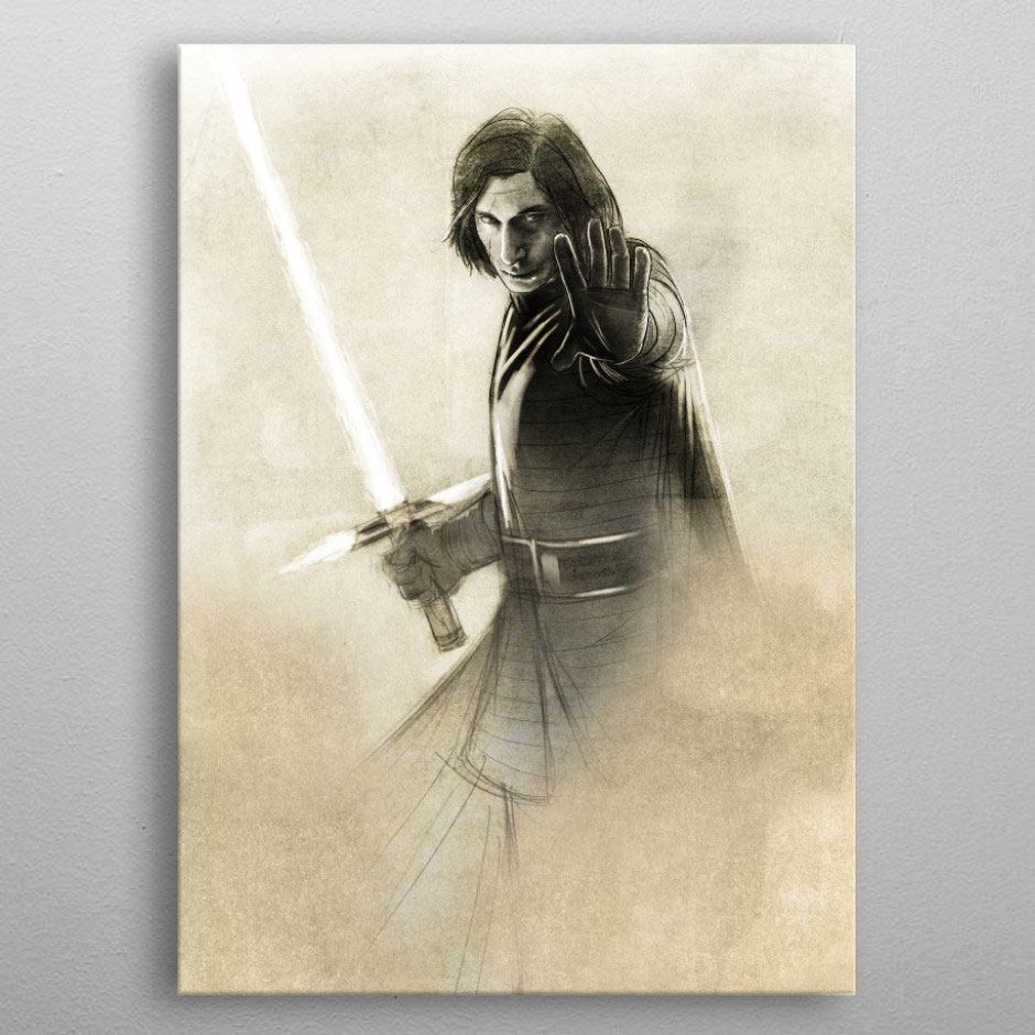Star Wars Metal Poster Last Jedi Sketches Kylo Ren 10 x 14 cm