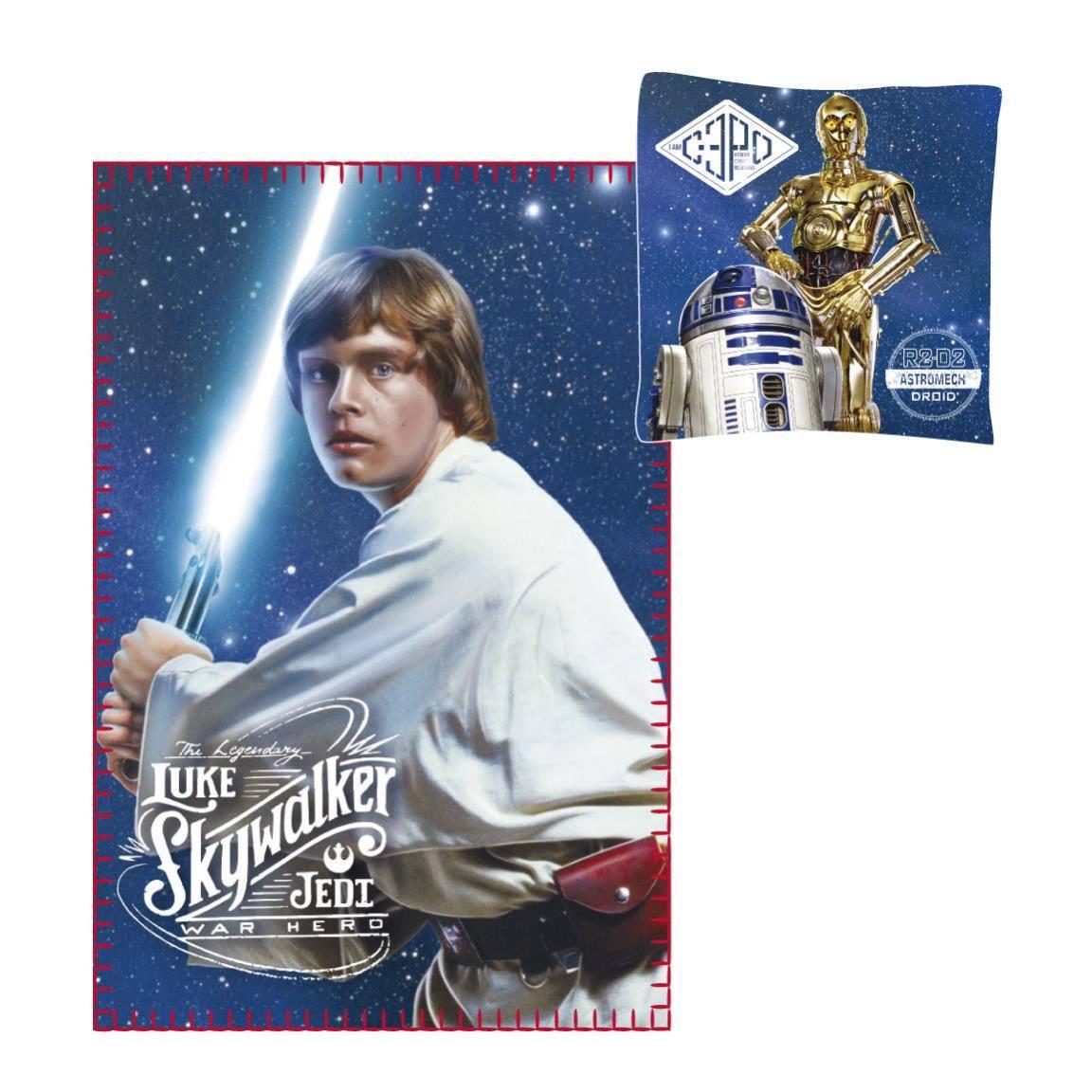 Star Wars Pillow & Fleece Blanket Set Luke Skywalker & C-3PO & R2-D2