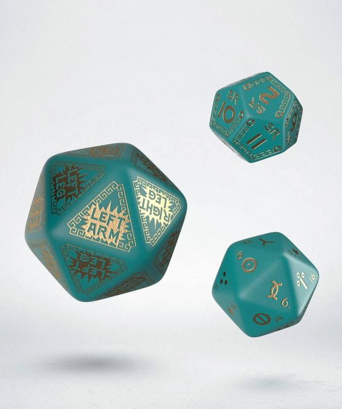 RuneQuest Dice Expension Set turquoise & gold (3)