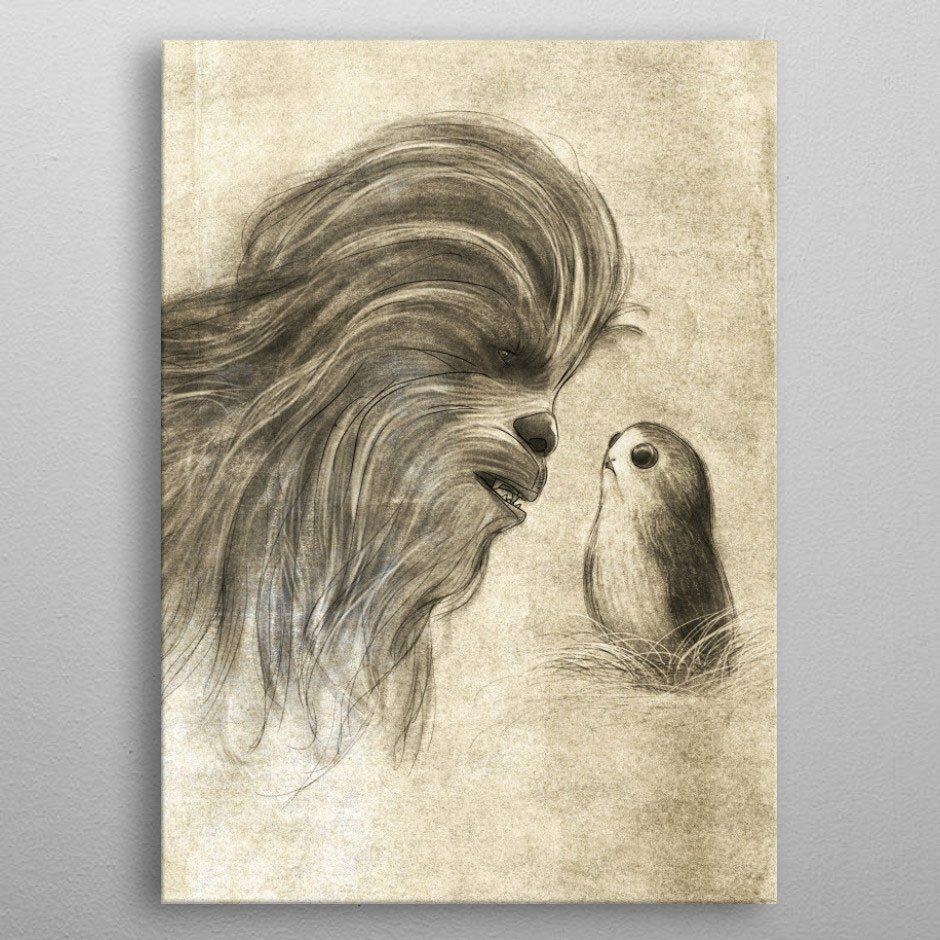 Star Wars Metal Poster Last Jedi Sketches Chewie & Porg 32 x 45 cm