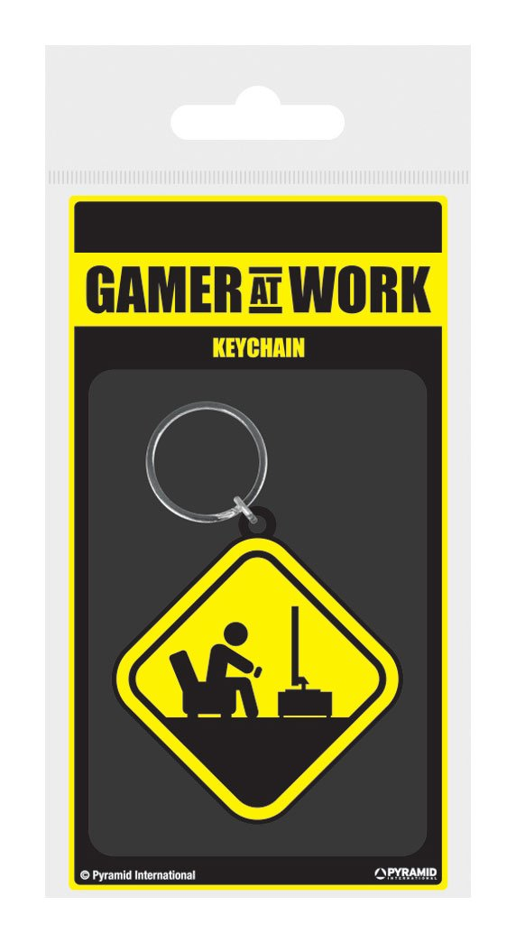 Gamer At Work Rubber Keychain Caution Sign 6 cm
