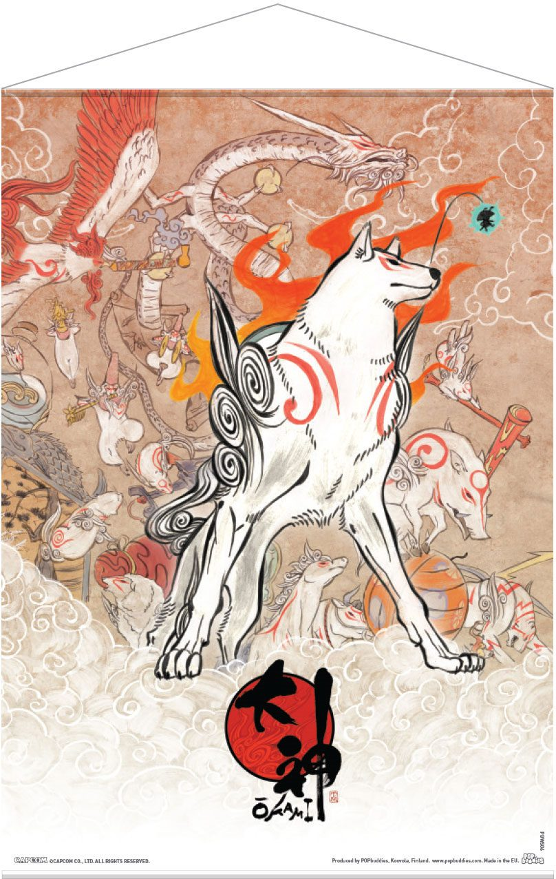 Okami Wallscroll Amaterasu and Celestial Brush Gods 50 x 70 cm