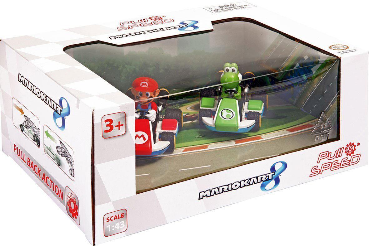 Mario Kart 8 Pull Back Cars 1/43 2-pack Mario & Yoshi