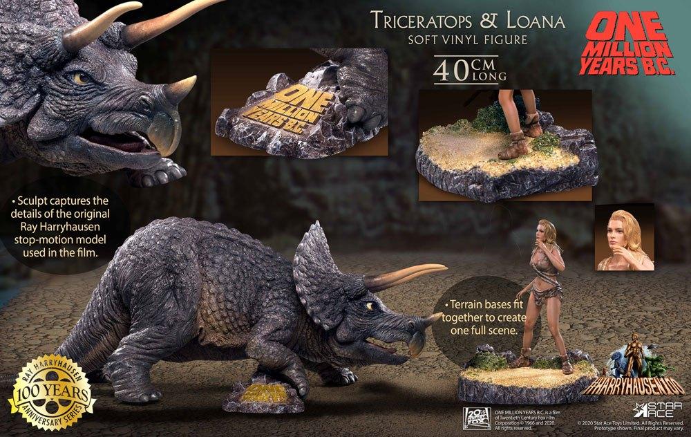 One Million Years B.C. Soft Vinyl Statues Triceratops & Loana