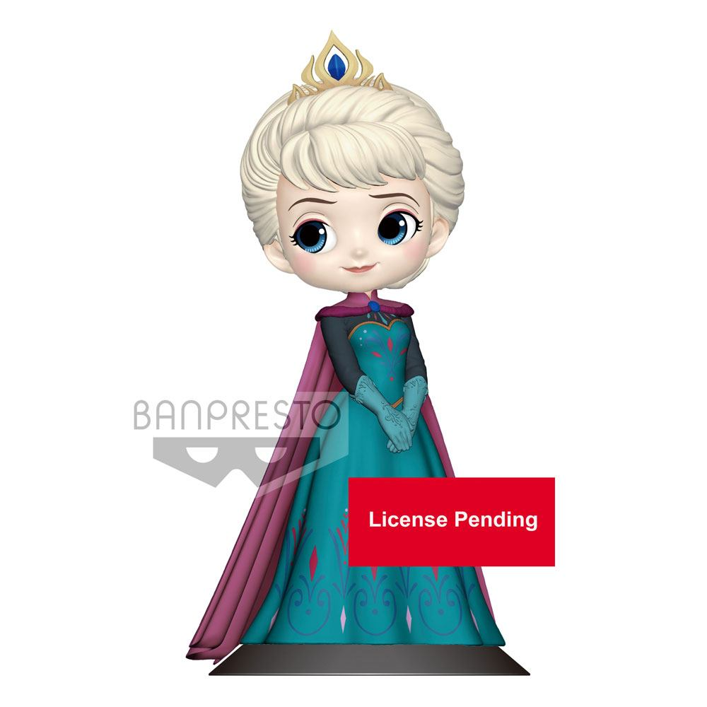 Disney Q Posket Mini Figure Elsa Coronation Style B Pastel Color Version 14 cm