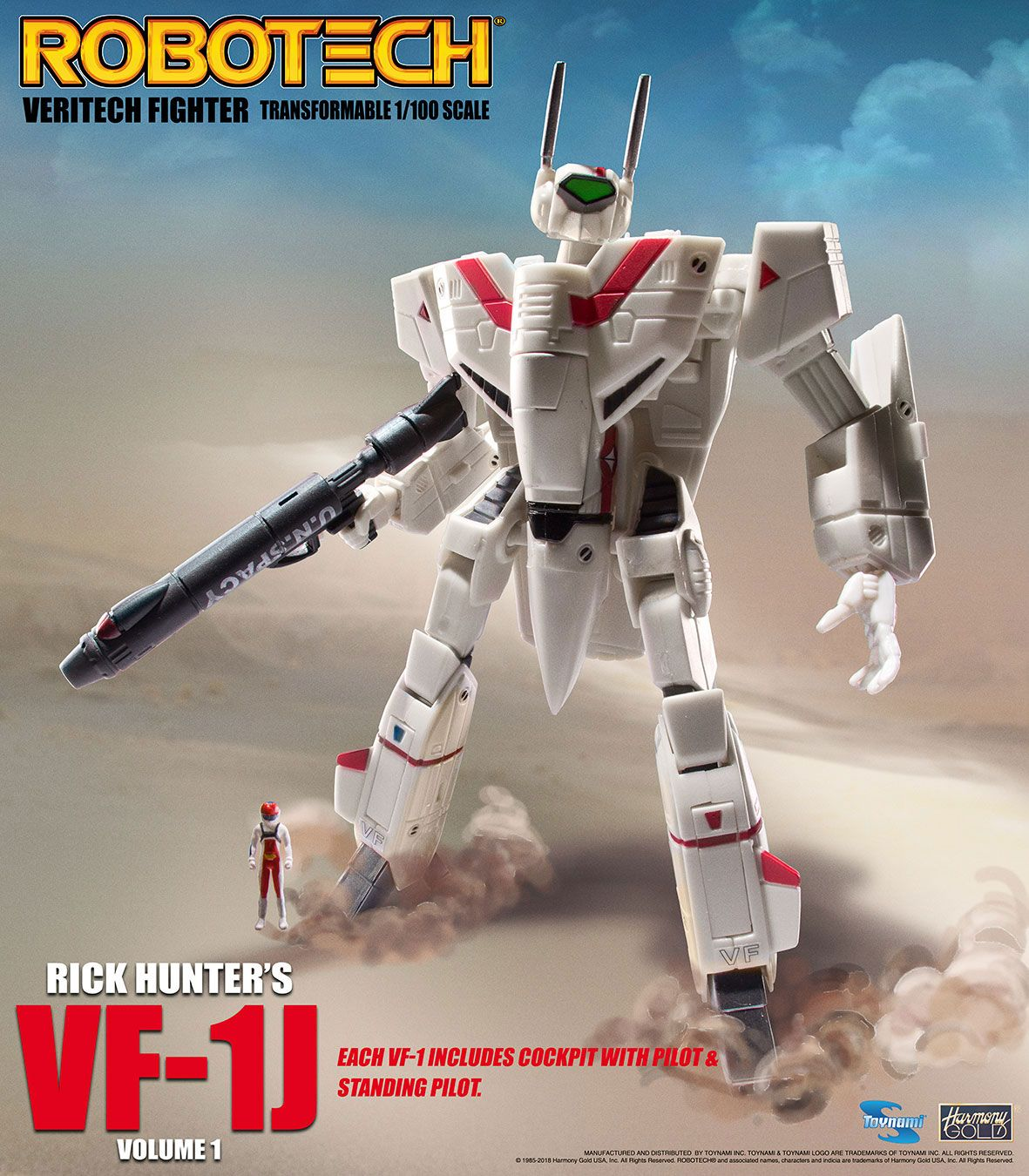 Robotech Veritech Micronian Pilot Collection Action Figure 1/100 Rick Hunter VF-1J 15 cm