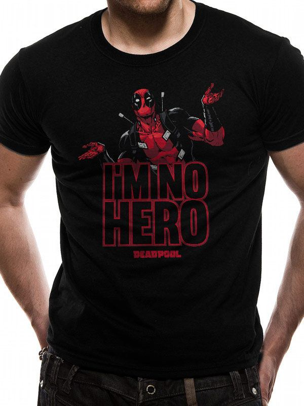 Deadpool T-Shirt I'm No Hero Size S