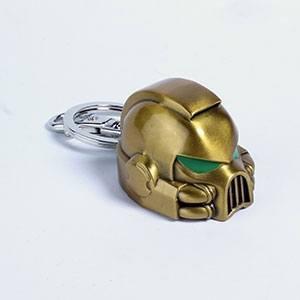 Warhammer 40K Metal Keychain Space Marine MKVII Helmet Gold