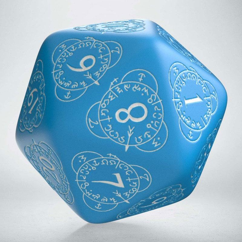 Q-Workshop Life Counter Die D20 blue & white