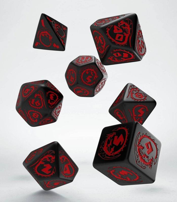 Dragons Dice Set black & red (7)