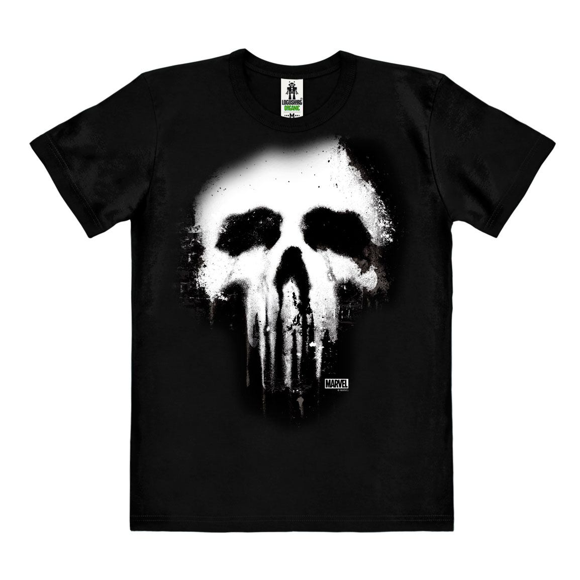 Marvel Comics Easy Fit Organic T-Shirt Punisher Skull Size M