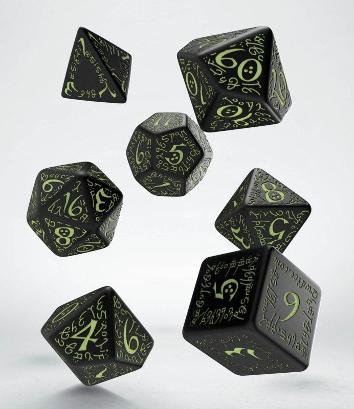 Elvish Dice Set black & glow-in-the-dark (7)