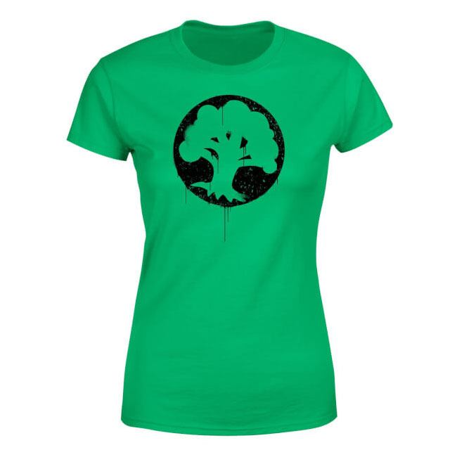 Magic the Gathering Ladies T-Shirt Green Mana Splatter Size L
