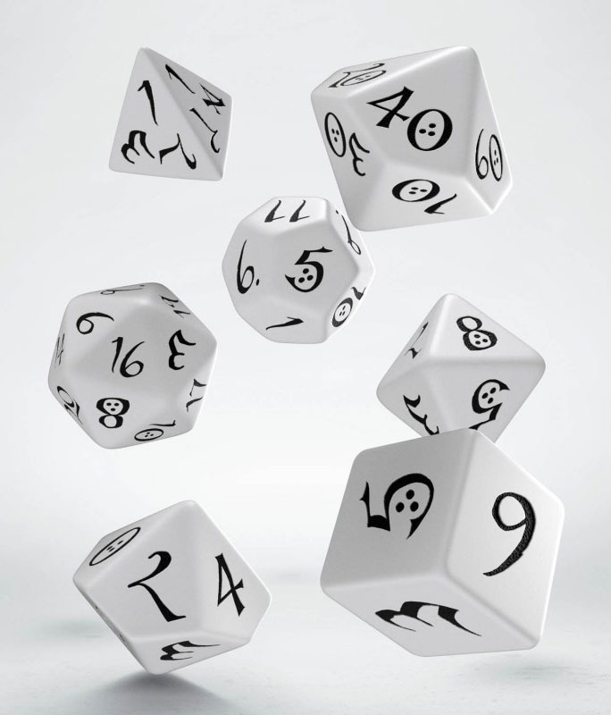 Classic RPG Dice Set white & black (7)