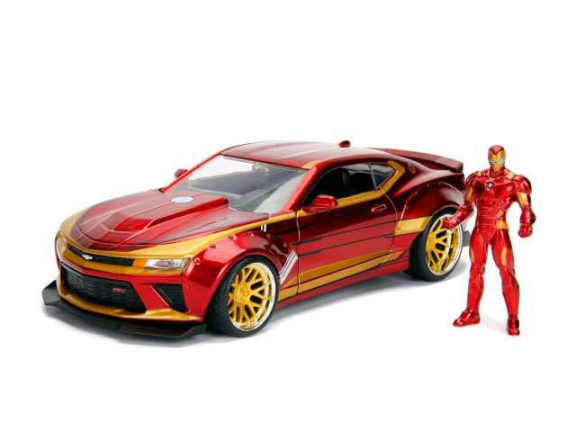 Marvel Diecast Model 1/24 Iron Man & 2016 Chevrolet Camaro