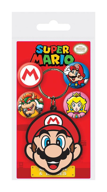 Super Mario Rubber Keychain & Badge Set Mario