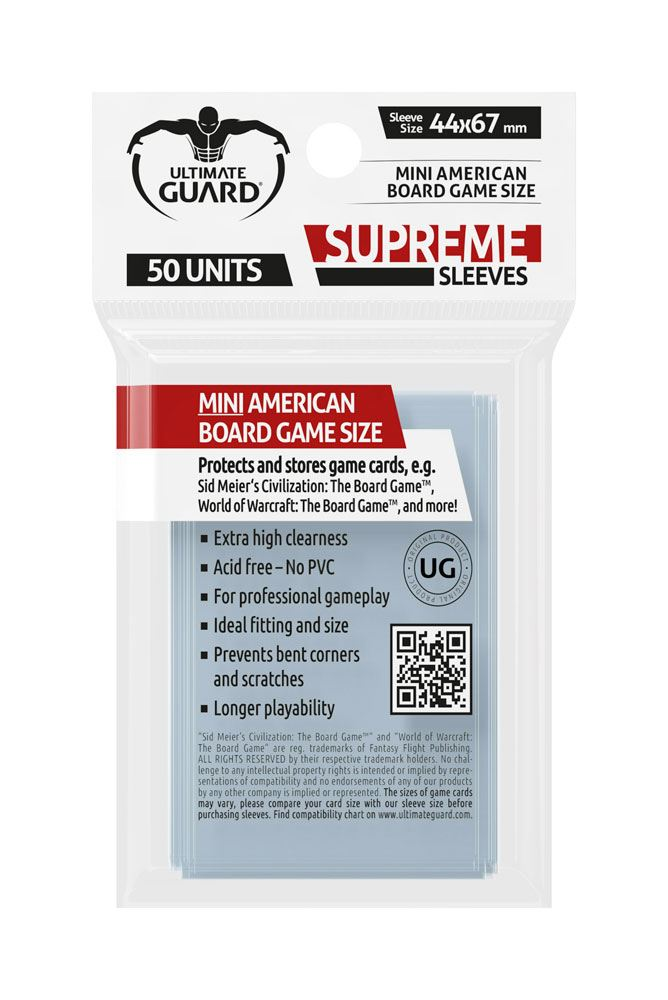 Ultimate Guard Supreme Sleeves for Board Game Cards Mini American (50)
