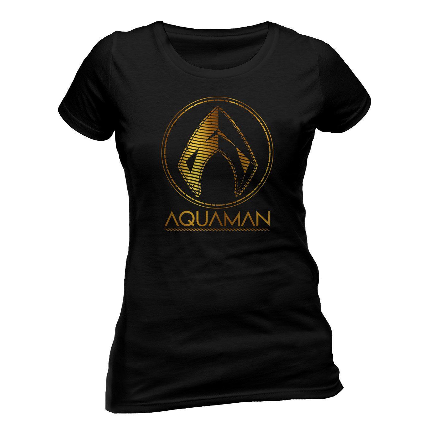 Aquaman Movie Ladies T-Shirt Metallic Symbol Size M