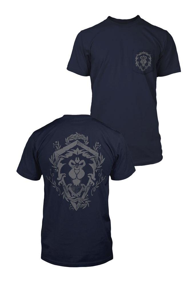World of Warcraft Premium Pocket T-Shirt Alliance Lion Crest  Size L