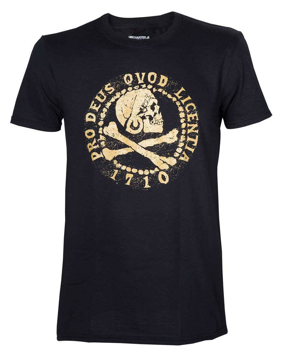 Uncharted 4 T-Shirt Skull Logo Gold Size L