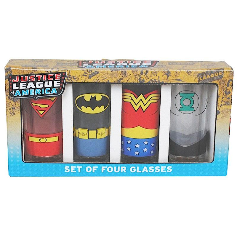 Justice League Juice Glass 4-Pack