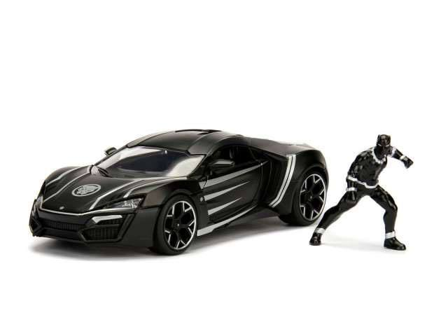 Marvel Diecast Model 1/24 Black Panther & 2017 Lykan Hypersport