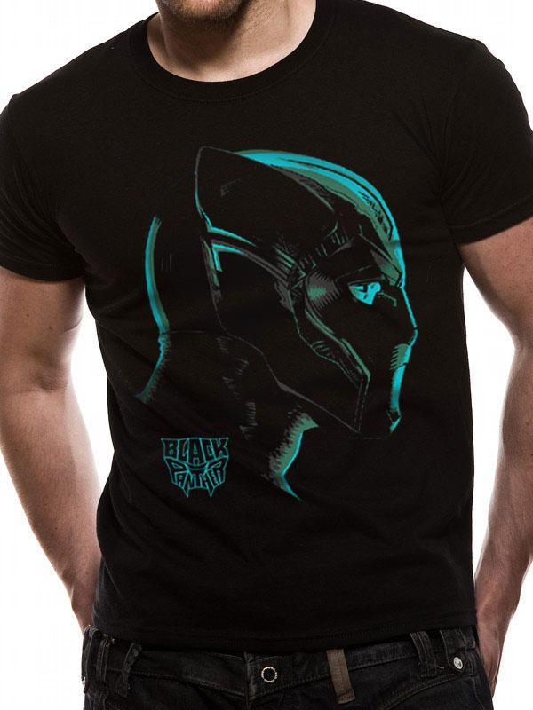 Black Panther Movie T-Shirt Neon Face Size XL