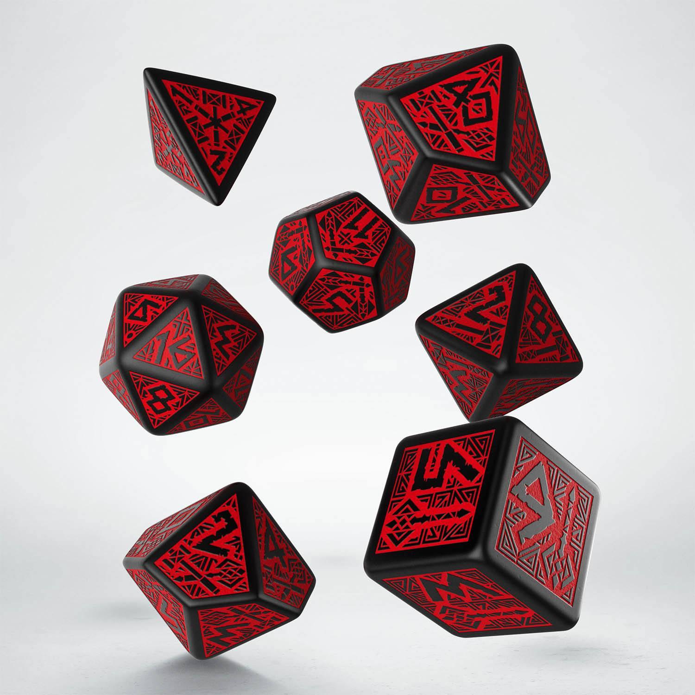 Dwarven Dice Set black & red (7)