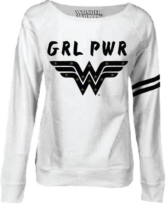 Wonder Woman Ladies Crewneck Sweatshirt Grl Pwr Size XL