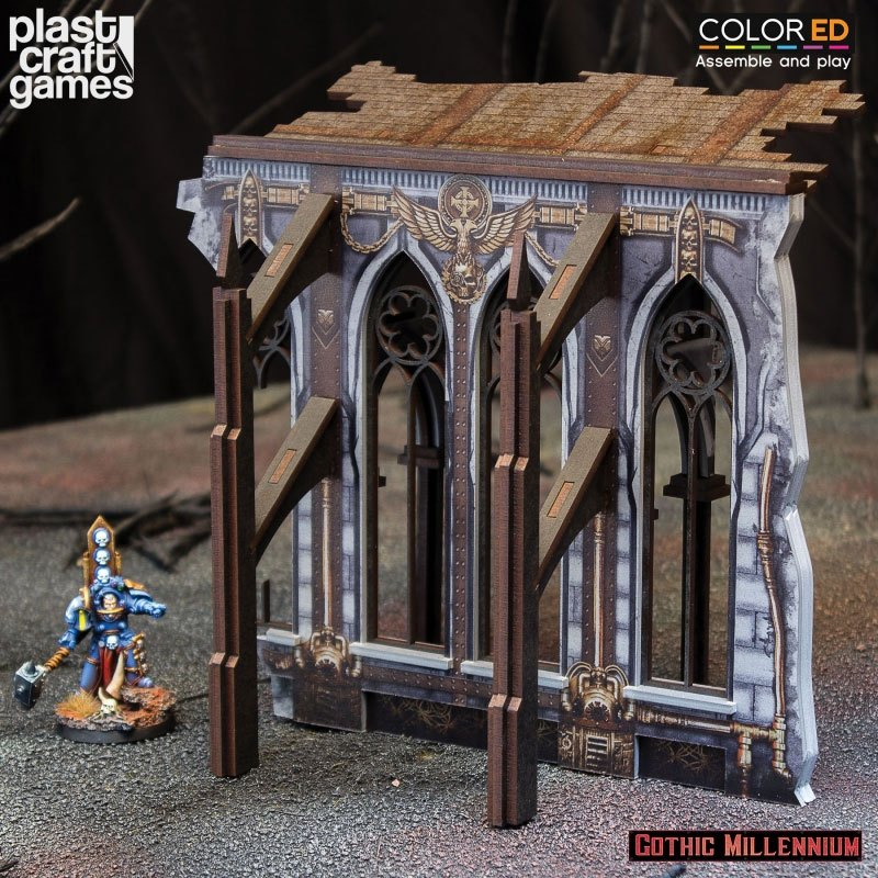 Gothic Millennium ColorED Miniature Gaming Model Kit 28 mm Demi-Ruined Side Wall