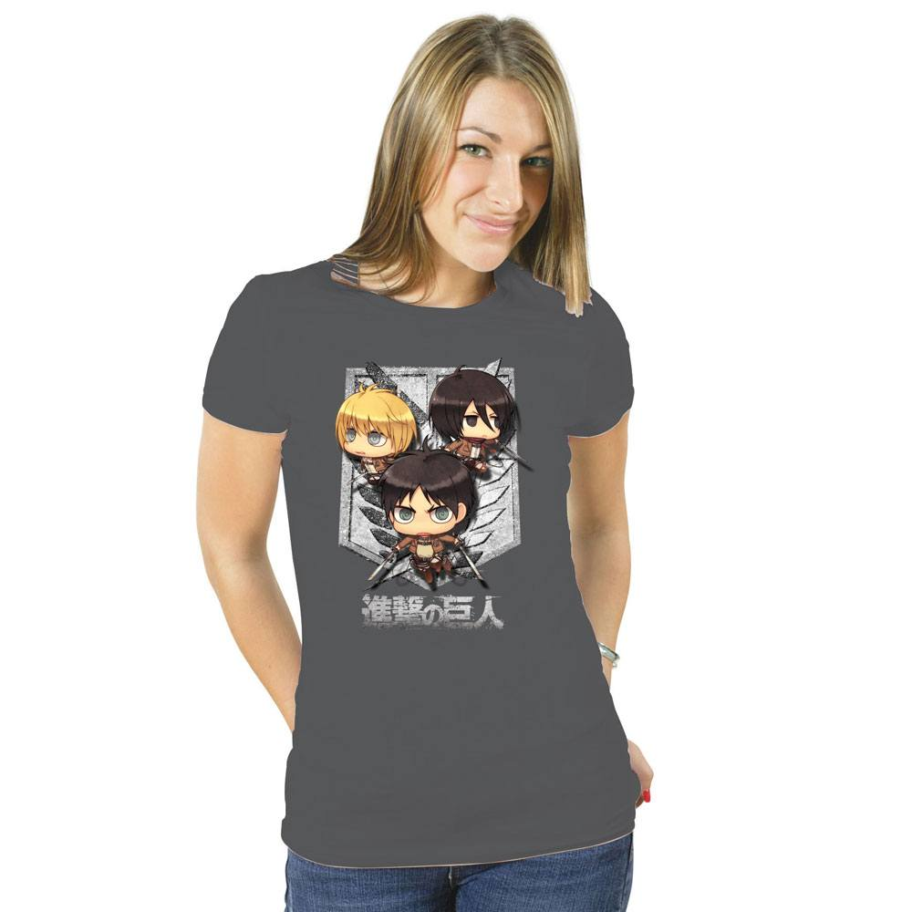 Attack on Titan Ladies T-Shirt Cartoon Group Size XL
