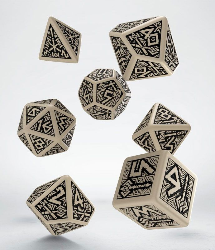 Dwarven Dice Set beige  & black (7)