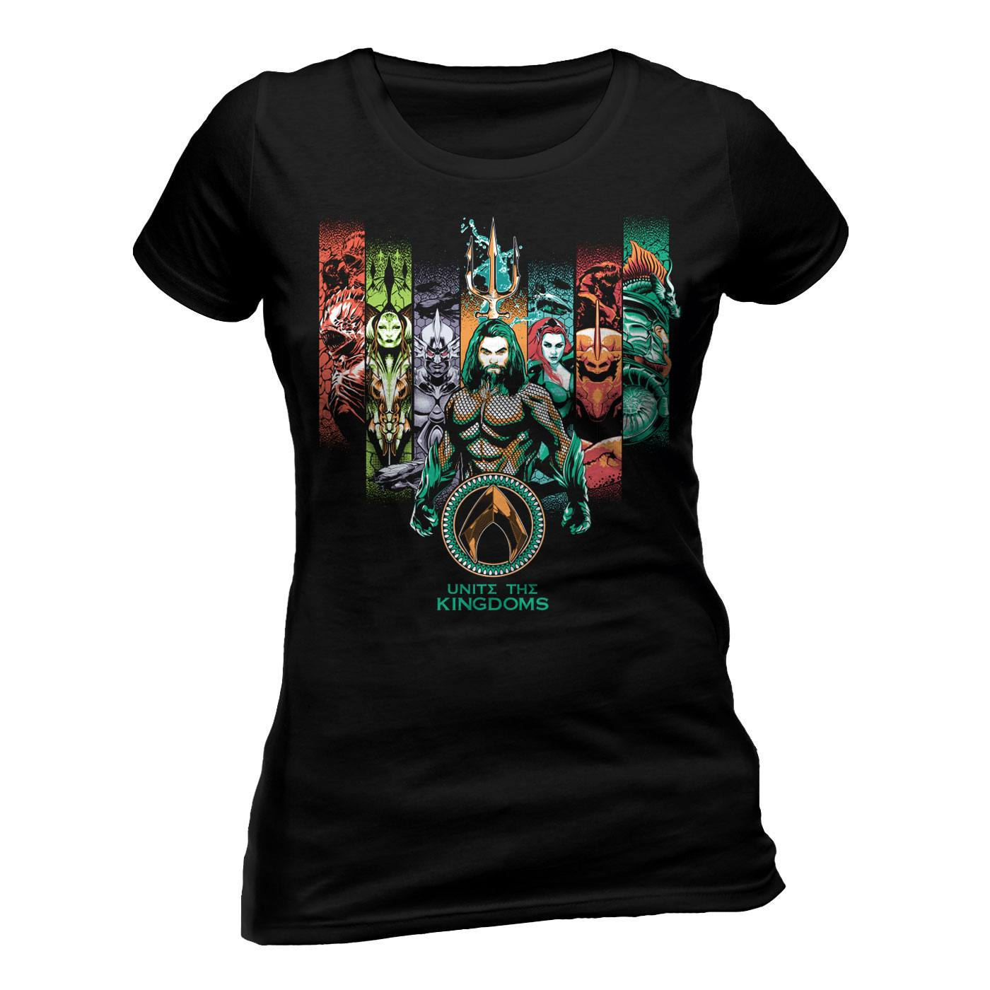 Aquaman Movie Ladies T-Shirt Unite The Kingdoms Size S
