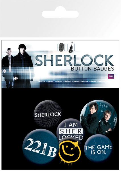 Sherlock Pin Badges 6-Pack Mix