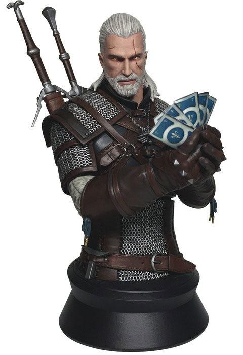 Witcher 3 Wild Hunt Bust Geralt Playing Gwent 23 cm --- DAMAGED PACKAGING