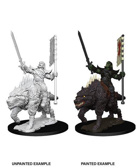 Pathfinder Battles Deep Cuts Unpainted Miniature Orc on Dire Wolf Case (6)