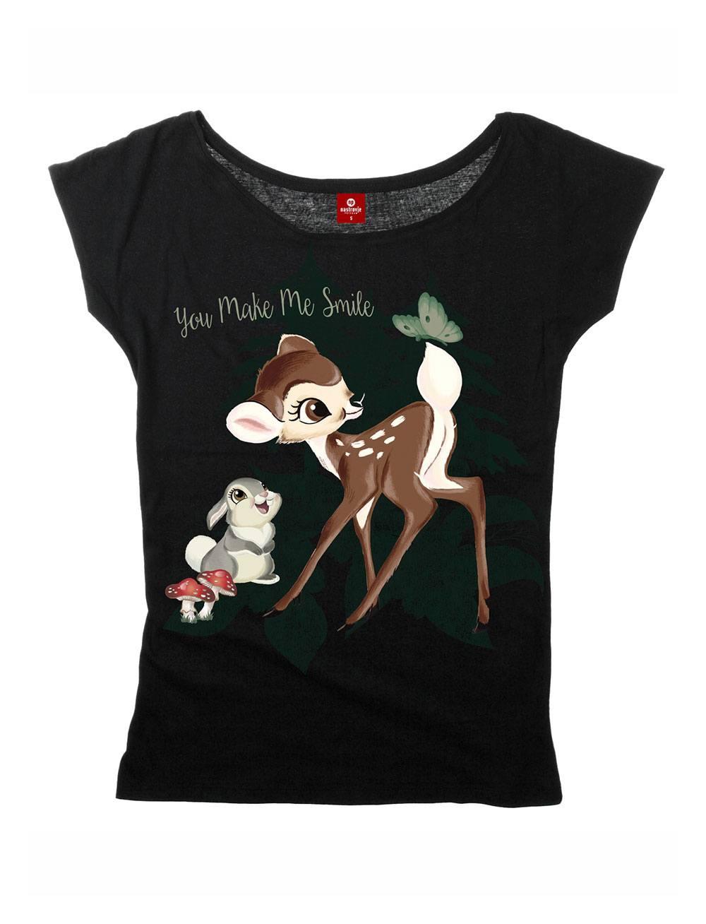 Bambi Ladies Loose T-Shirt Smile Size L
