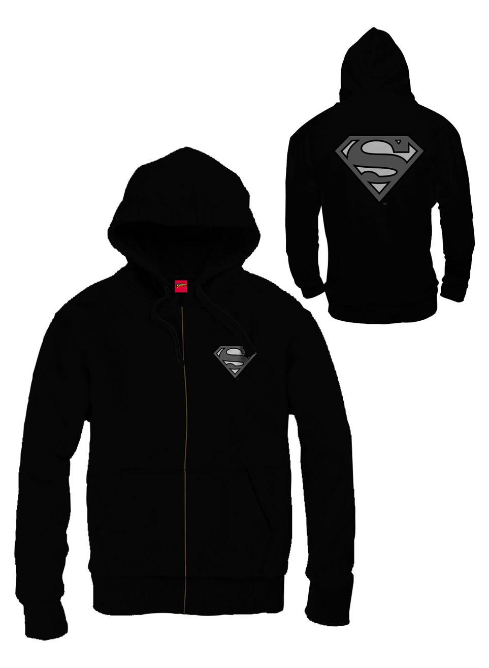 Superman Zipped Hooded Sweater Grey Logo Size M