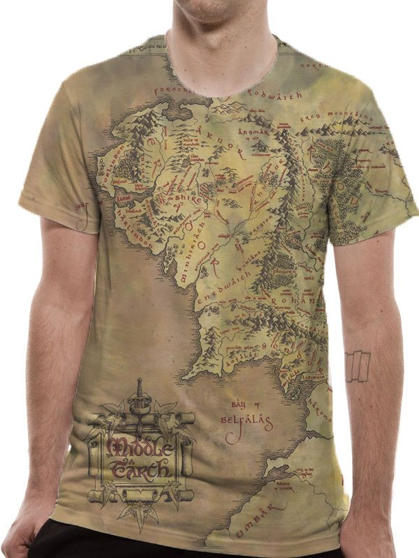 Lord of the Rings Premium T-Shirt Middle Earth Map Size S