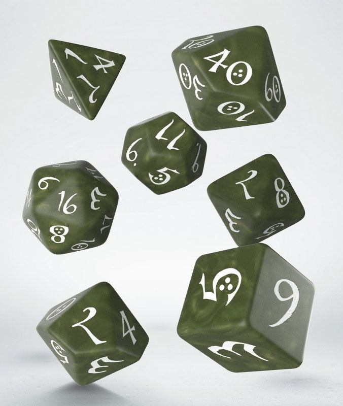 Classic RPG Dice Set olive & white (7)