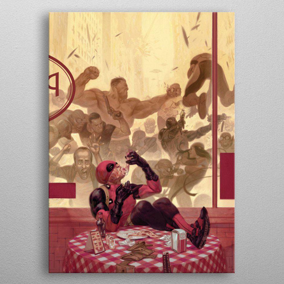 Marvel Metal Poster Deadpool Gritty Pizza Break 32 x 45 cm