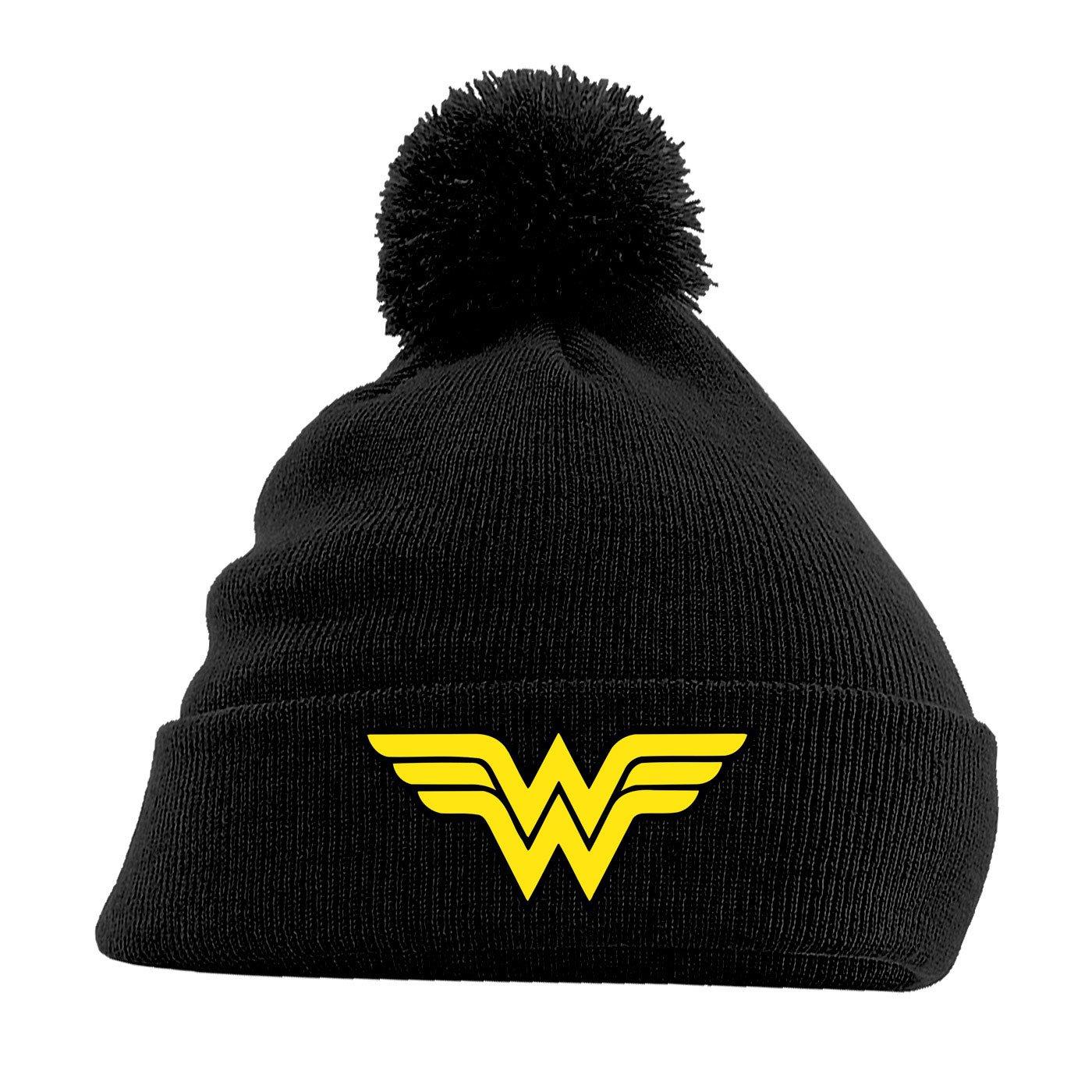 Wonder Woman Pom Pom Beanie Logo Black